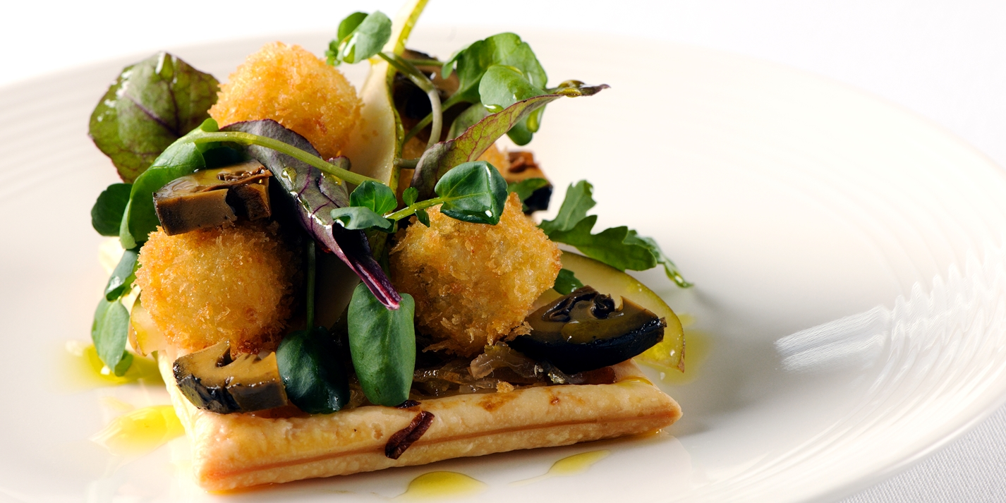 Chicory tart with walnut and pear salad and deep fried blue cheese