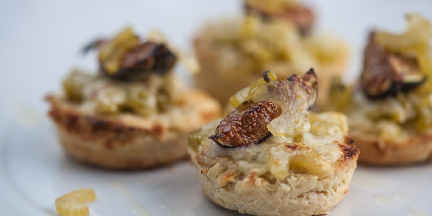 Cheddar scones with pickled celery and grilled figs