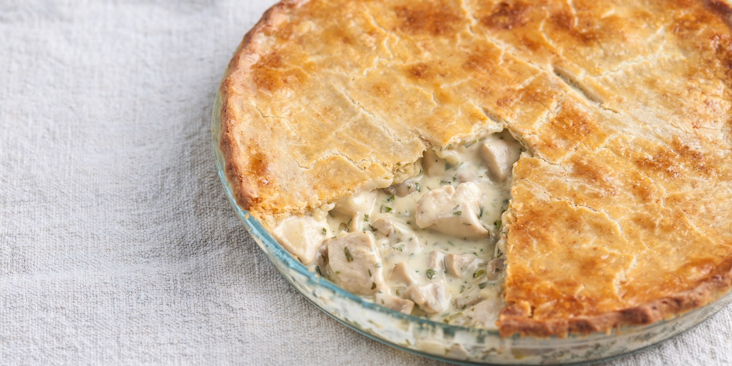 Chicken and mushroom pie with cheddar shortcrust pastry