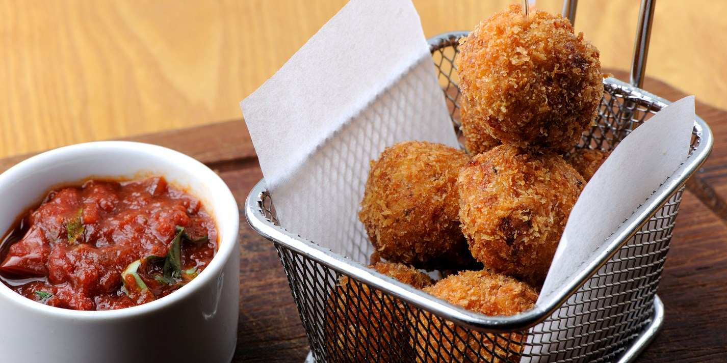 Sicilian arancini with arrabiata sauce