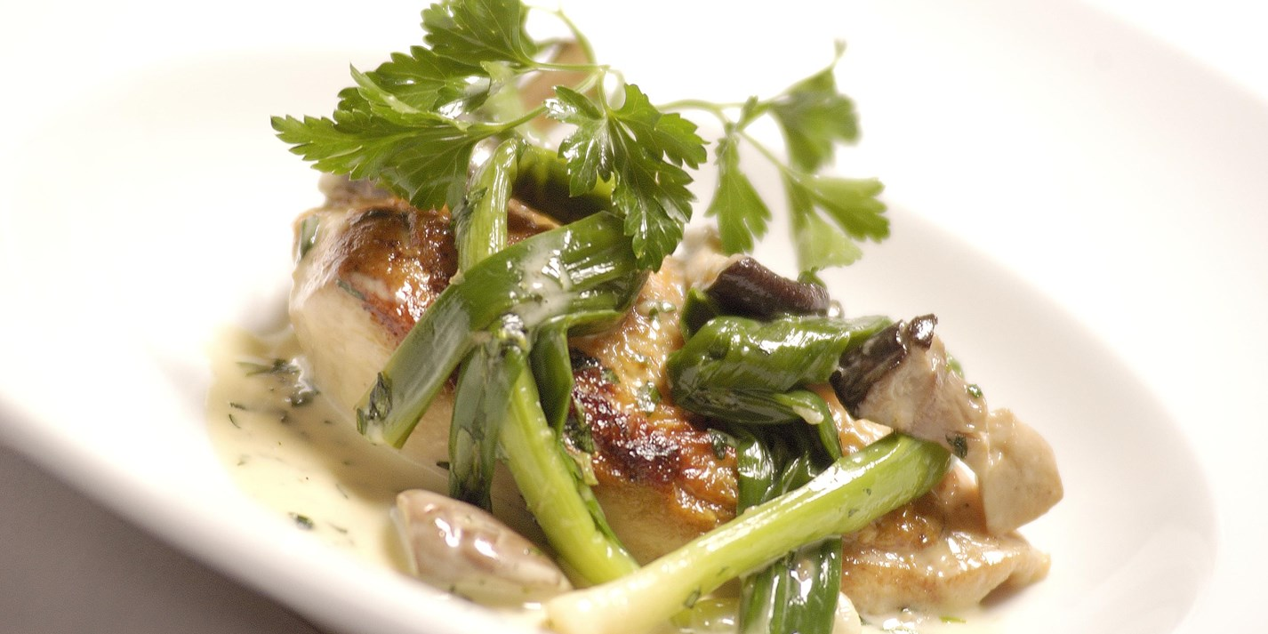 Corn-fed chicken with wild mushrooms and leeks