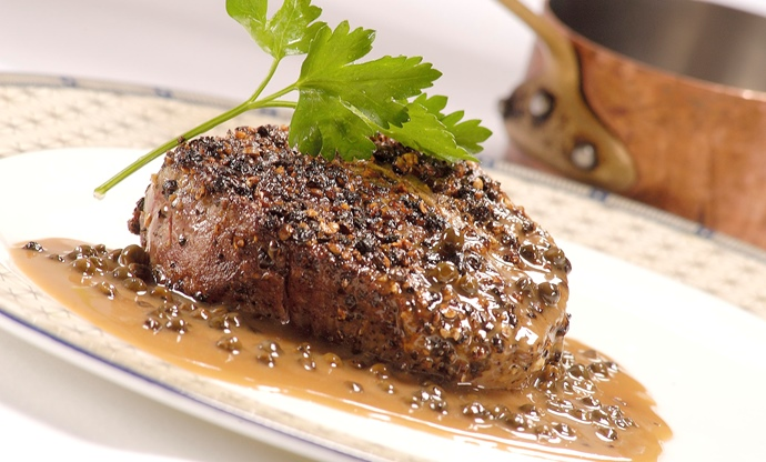 Heathcotes' steak au Poivre
