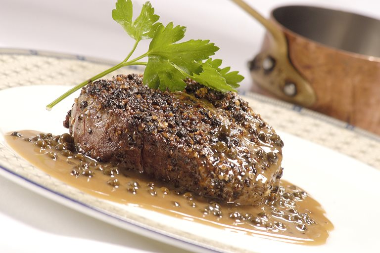 heathcotes steak au poivre recipe great british chefs