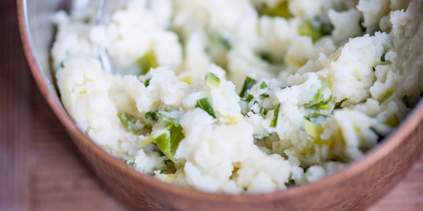 Mash and leeks