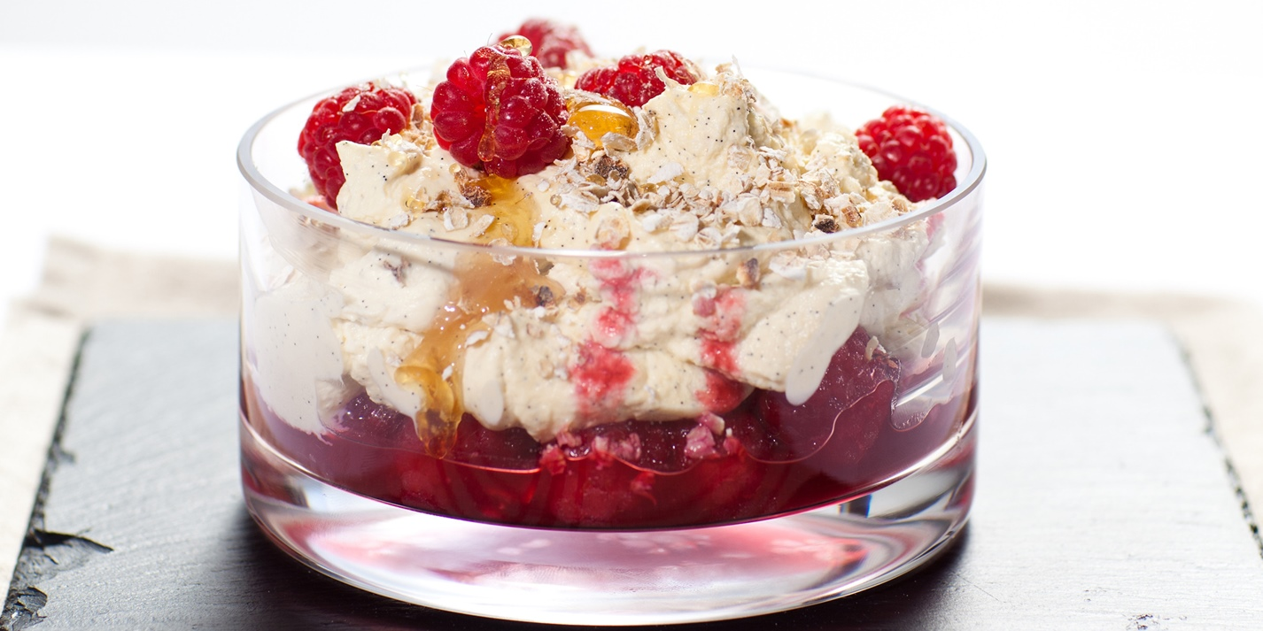 Channel Island raspberry and cream cranachan
