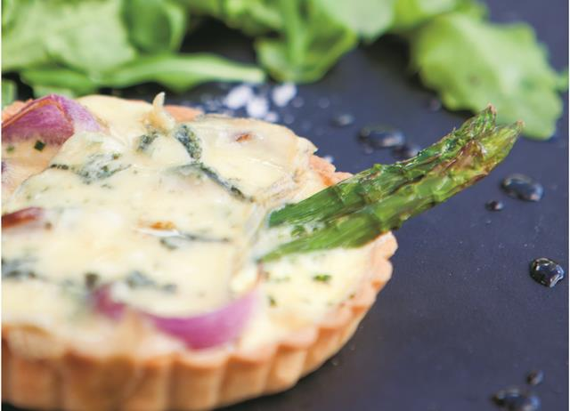 Asparagus, red onion and blue cheese tarts