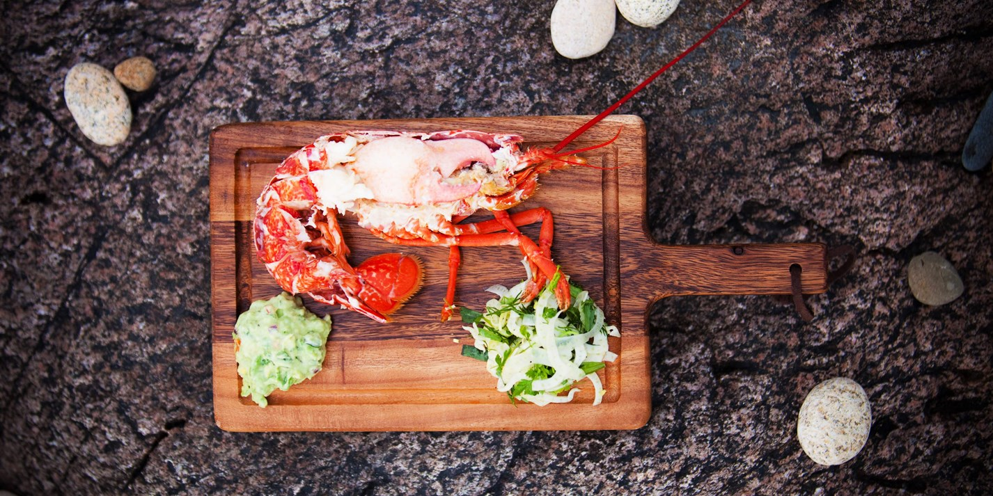 Lobster salad with marinated fennel and chunky, spicy guacamole