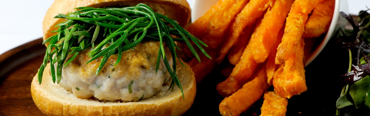 Squid and mackerel burger with sweet potato chips