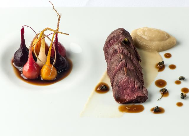 Loin of venison with soy glazed baby beets and roasted turnip purée