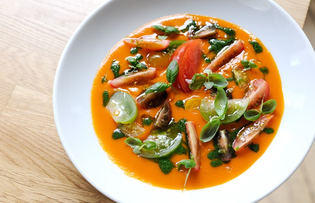 Cherry tomato gazpacho with basil oil
