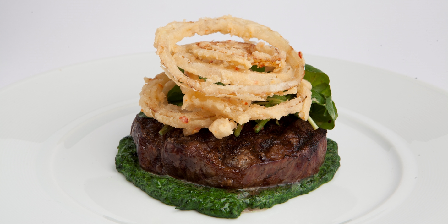 Grilled rib-eye with watercress purée