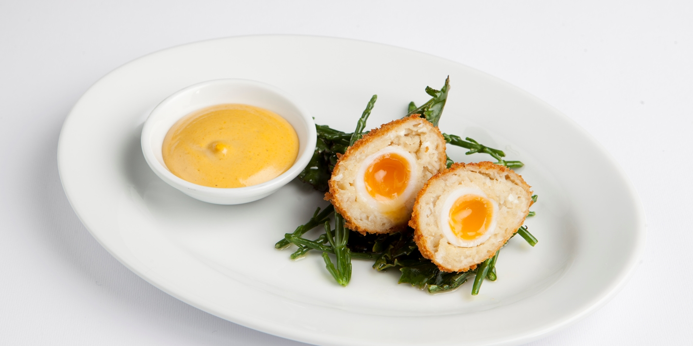 Smoked cod Scotch eggs with aioli