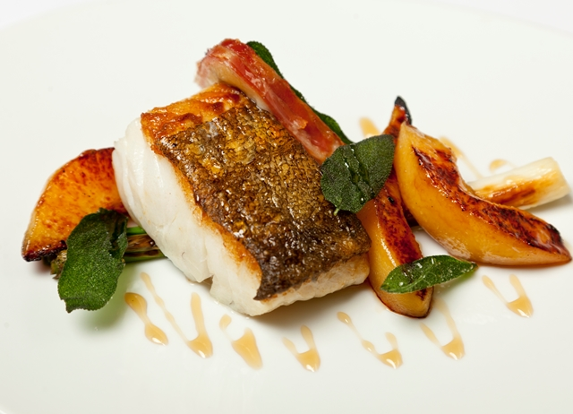 Roast cod with morcilla, quince and calçots