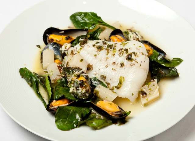 Turbot with mussels, sea vegetables and salsify