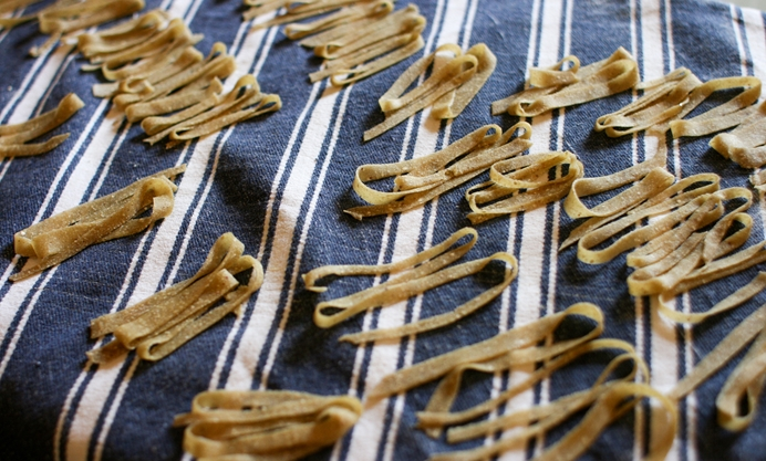 Drape the pasta over a rack to dry