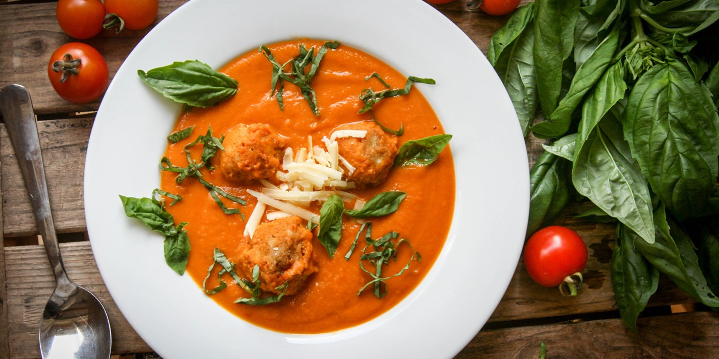 Roasted tomato soup with cheddar dumplings recipe - Great British ...