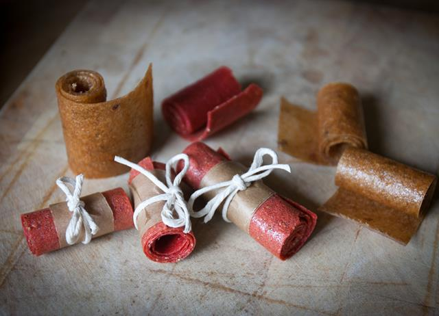 Strawberry and elderflower fruit leather