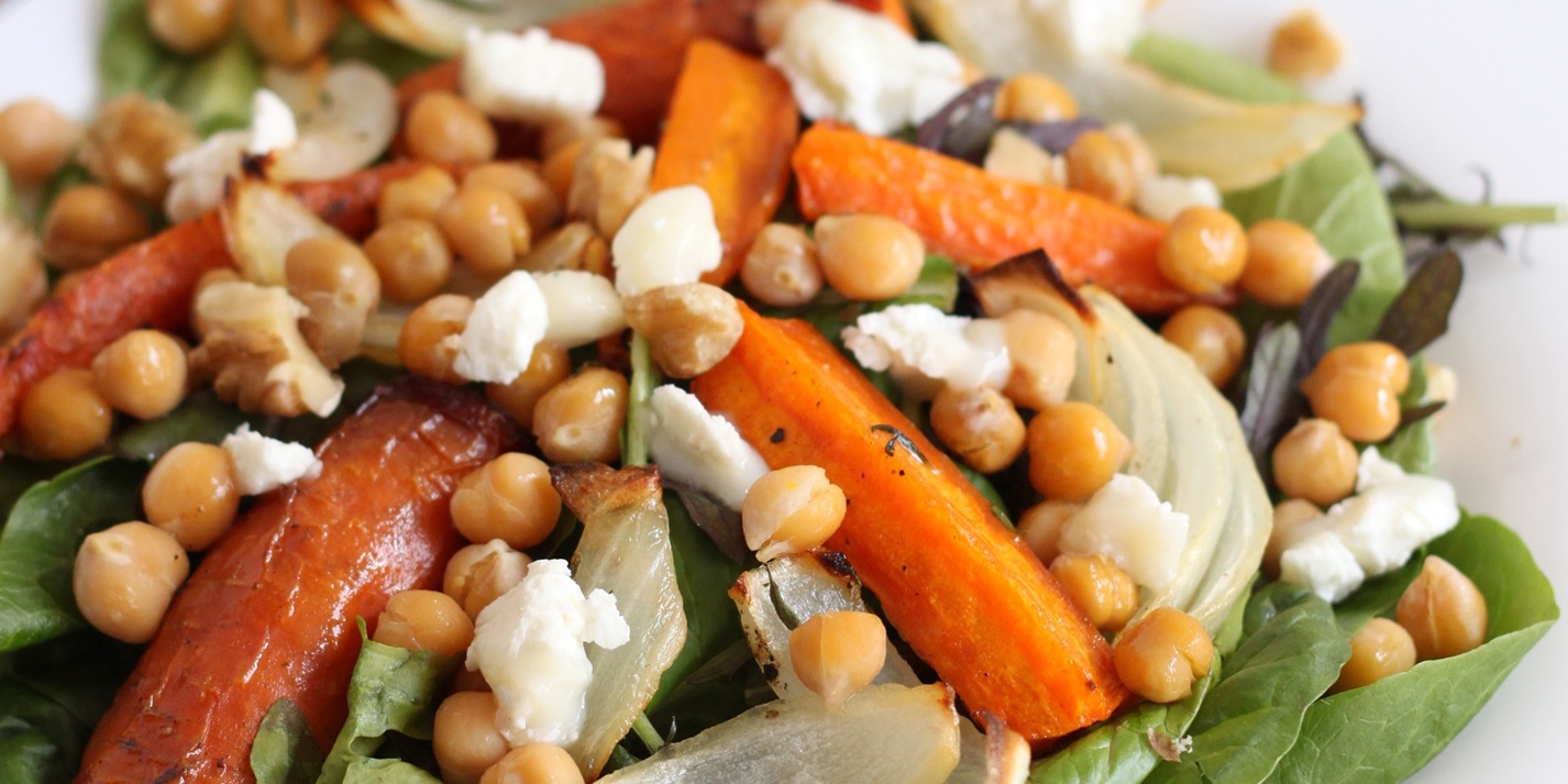 Roasted carrot and chickpea salad
