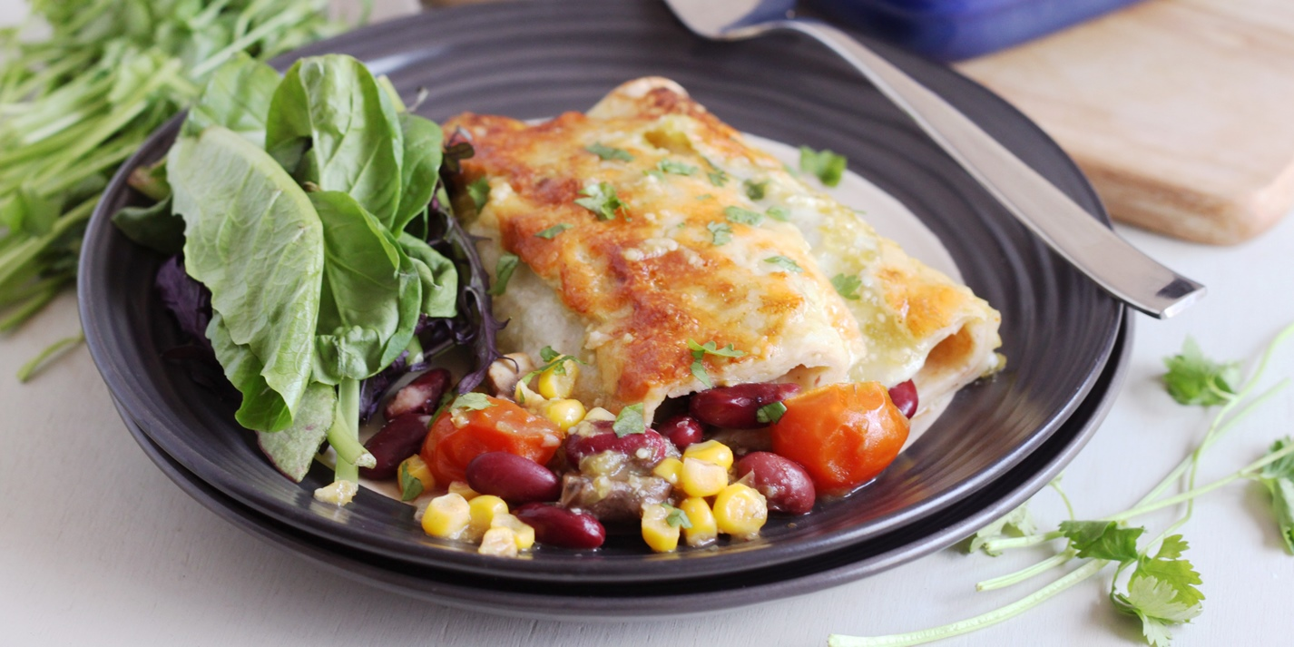 Veggie enchiladas with tomatillo sauce