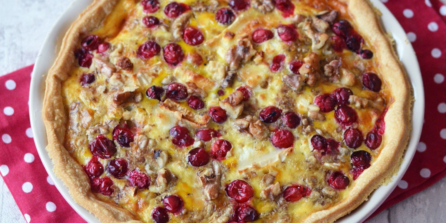 Goats cheese, cranberry and walnut tart