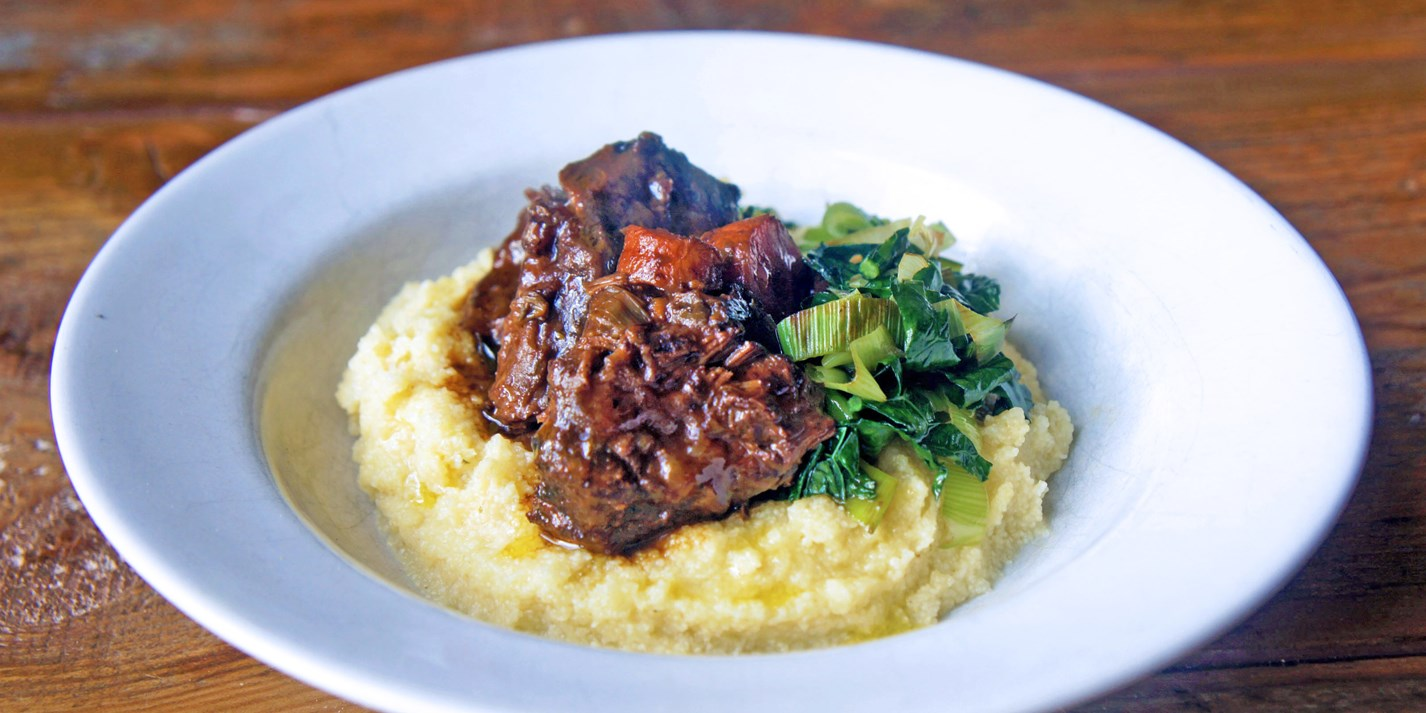 Slow cooked ox cheeks in wine