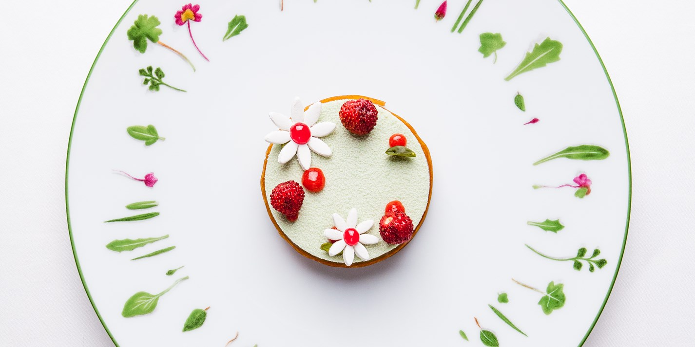 Alain Ducasse's pistachio and strawberry dessert for Chelsea Flower Show