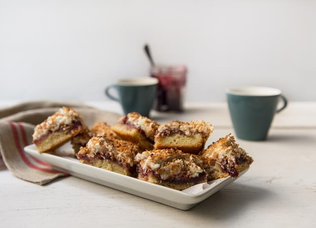 Gluten-free coconut and cherry squares