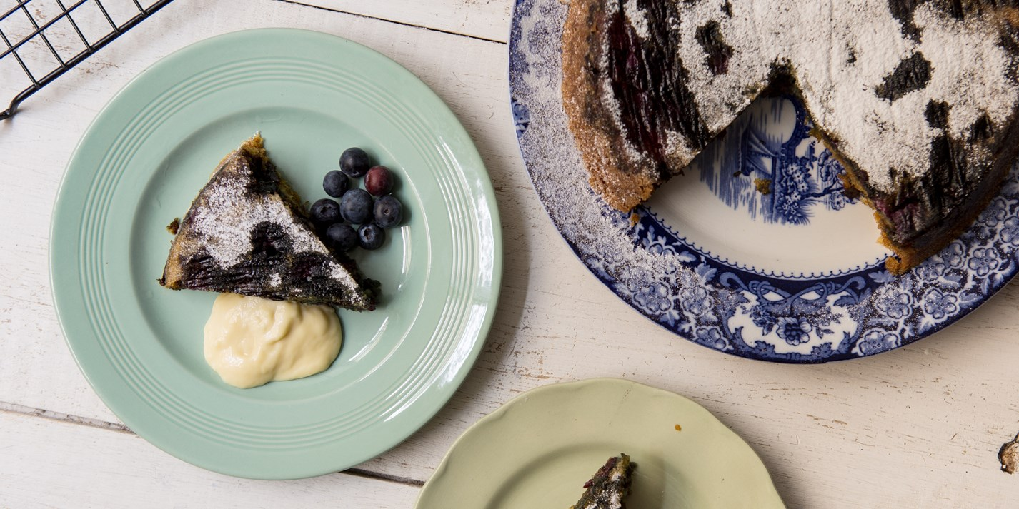Gluten and dairy-free coconut and blueberry cake
