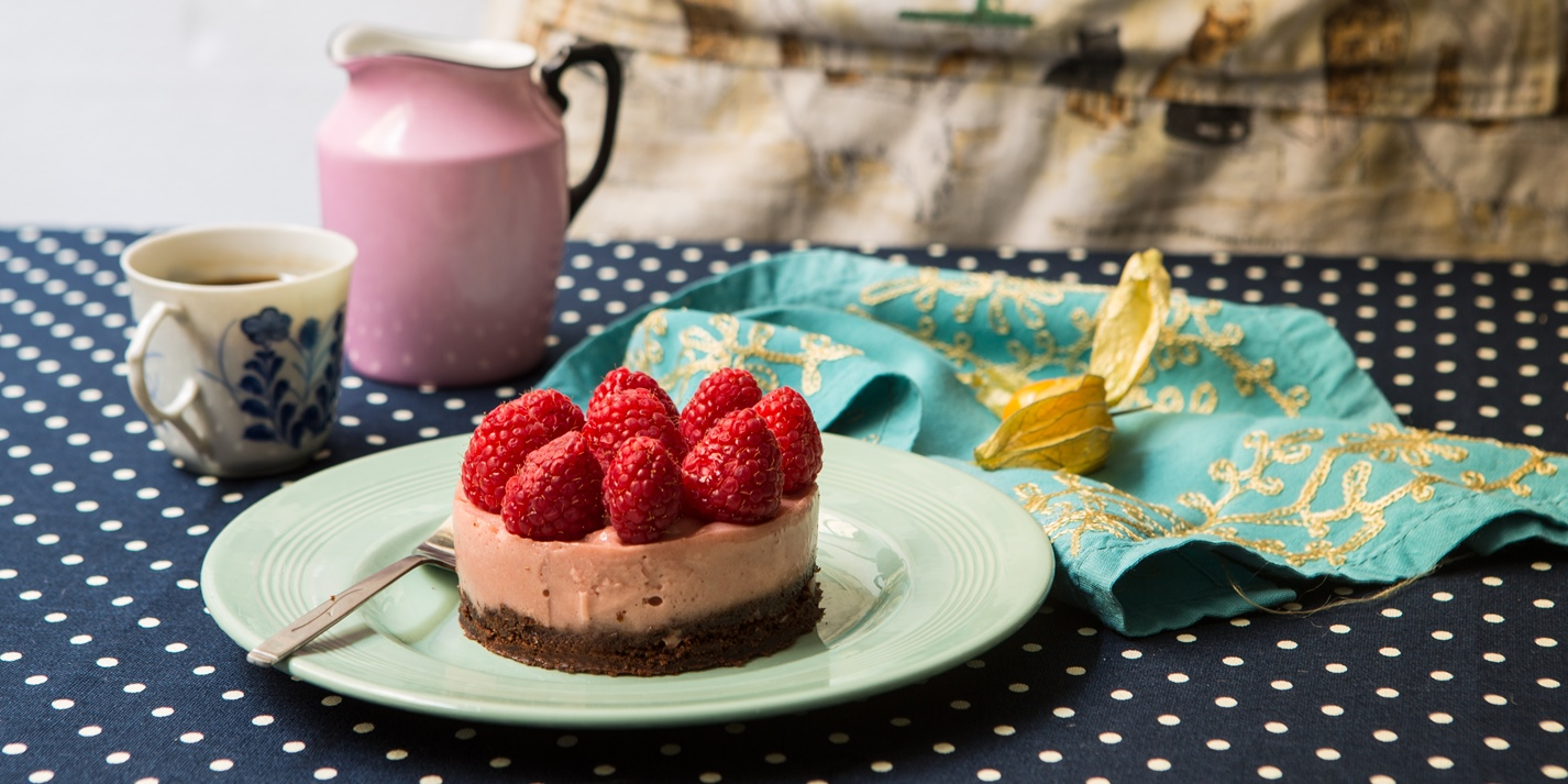 Raspberry mousse-topped chocolate cake
