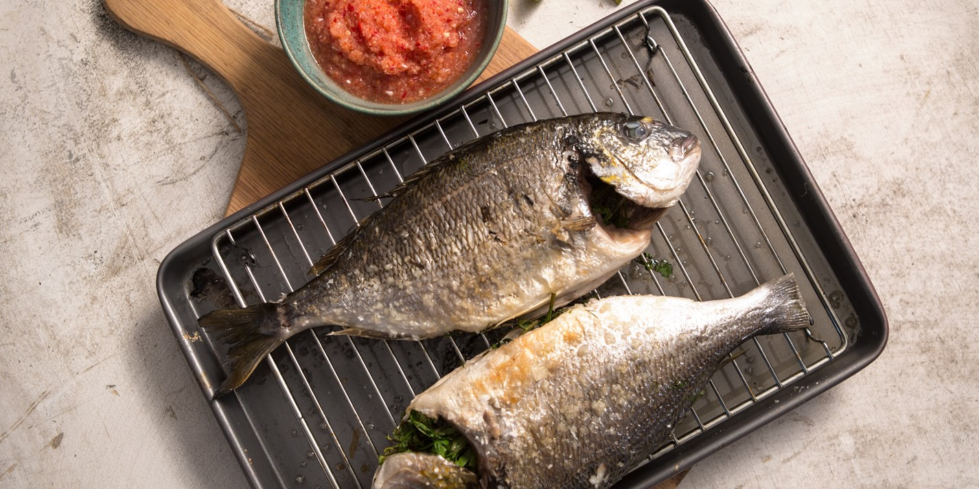 BBQ grilled fish with homemade chilli and lime dip