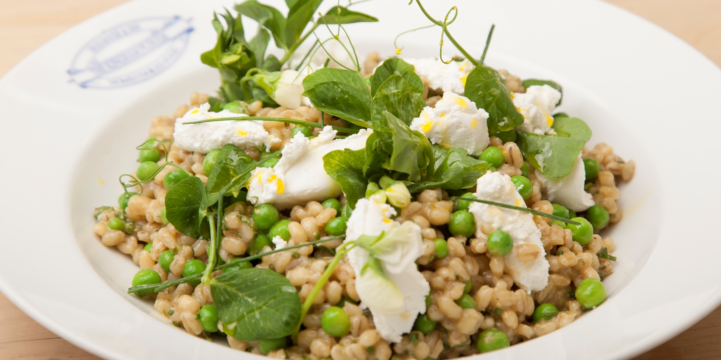 Barley, pea and mint salad with fresh organic goat's cheese
