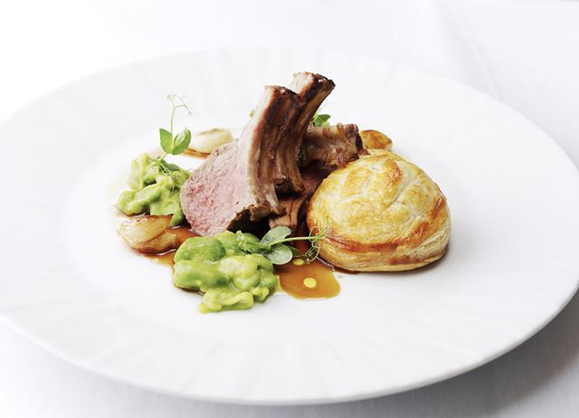 Rack of Welsh Lamb with lamb sweetbread pie and gravy