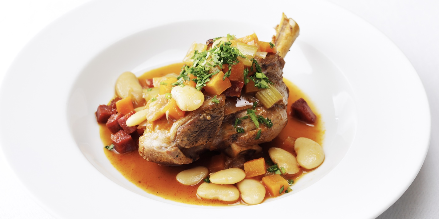 Shoulder shanks of Welsh Lamb with braised chorizo and butter beans