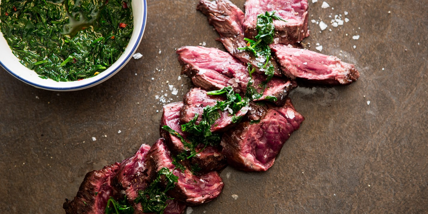 Onglet steak with herbs