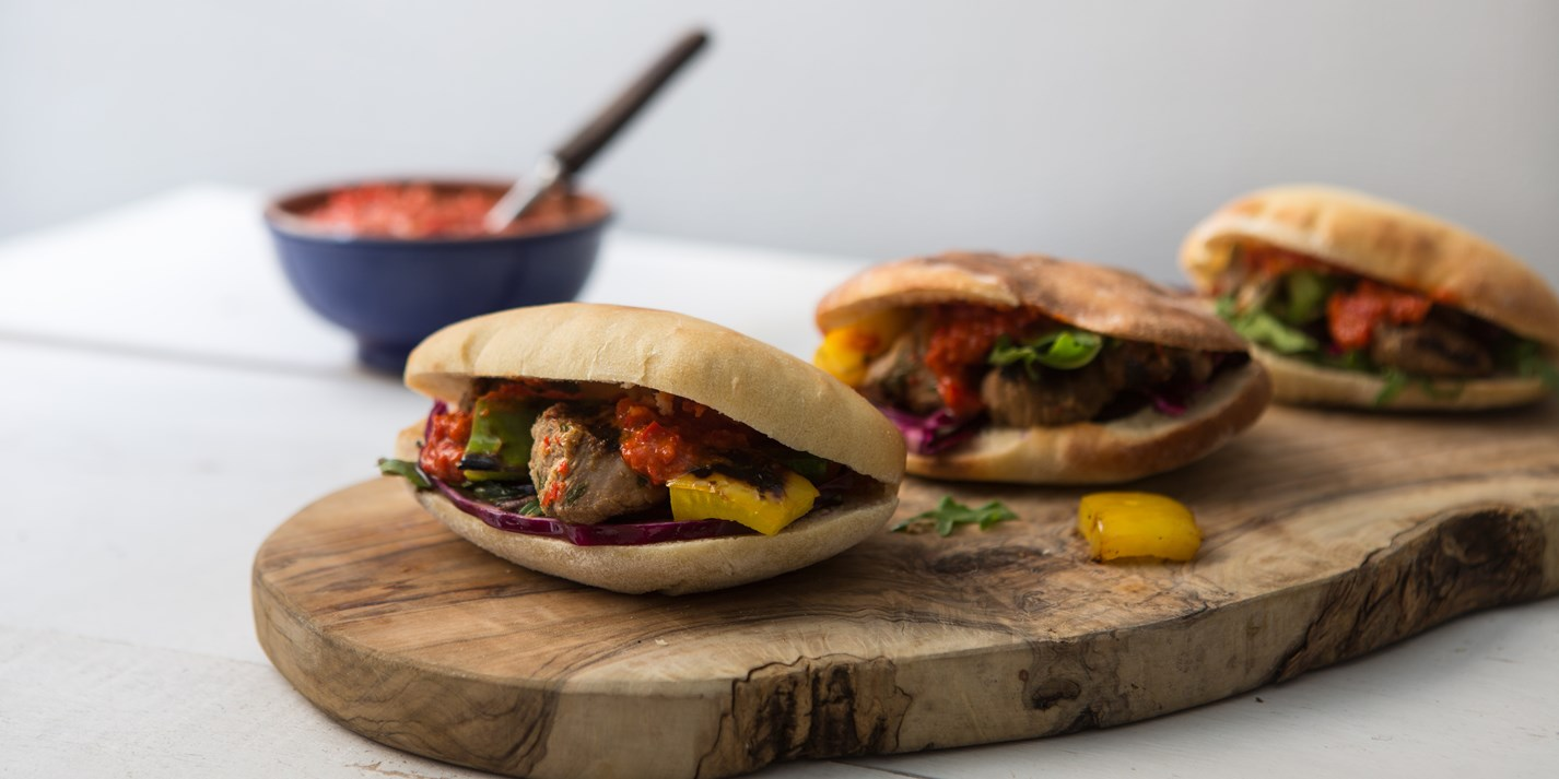 Lamb shish kebabs with harissa and pitta bread