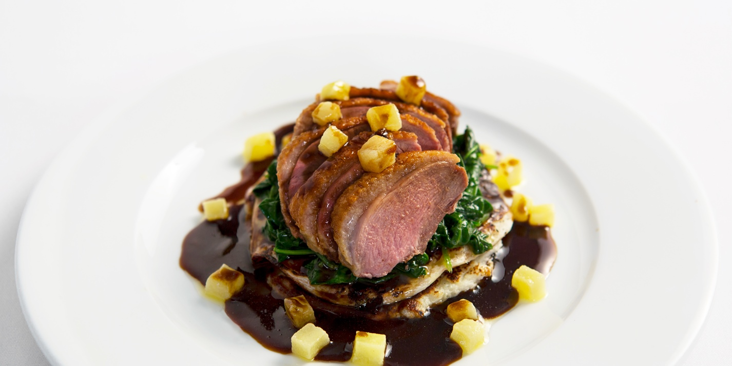 Breast of Madgett's farm duck with potato pancakes