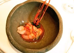 Prawn marinated with rice vinegar from El Celler de Can Roca