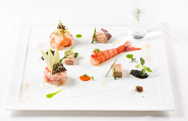Andrea Migliaccio's Red prawn with foie gras, green apple and gin