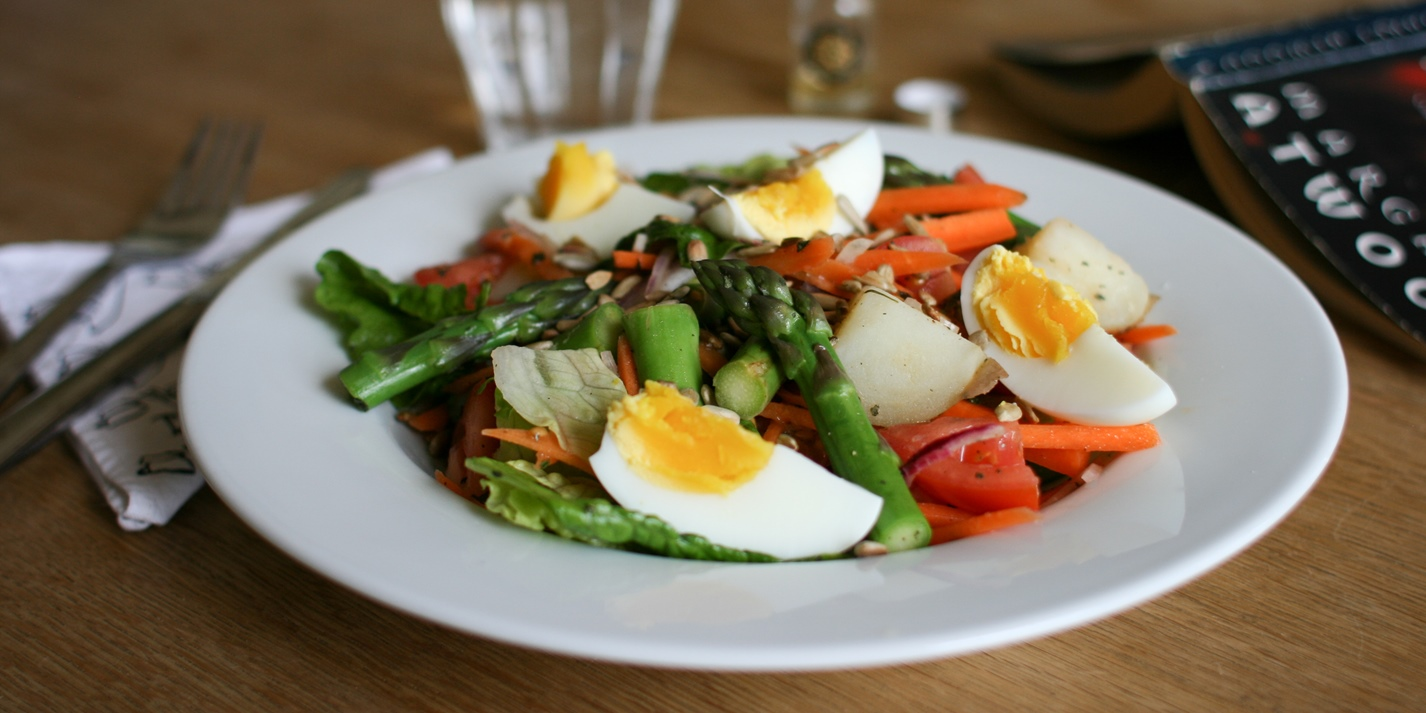 Asparagus, egg and potato salad with tarragon vinaigrette