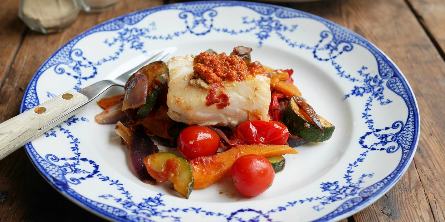 Mediterranean cod with vegetables