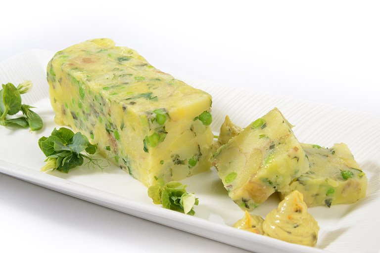 New potato and pea presse with herb dressing