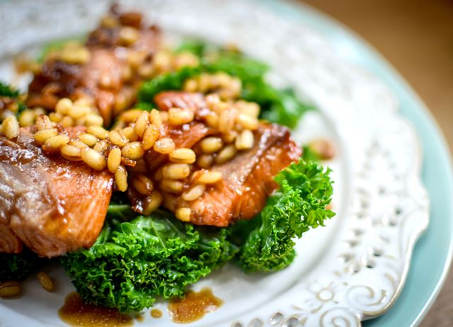 Teriyaki salmon, kale and barley salad