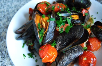 Roasted mussels with Piccolo tomatoes and chorizo