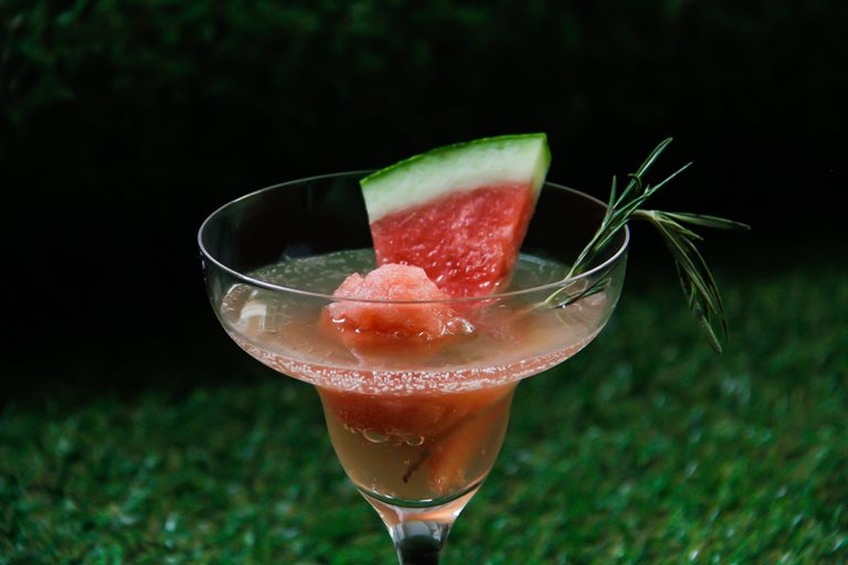 Watermelon, rosemary and Prosecco sorbet cocktail