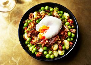 Broad bean, peas, poached egg, chorizo and 'pan frito' (photo courtesy of Kris Kirkham)