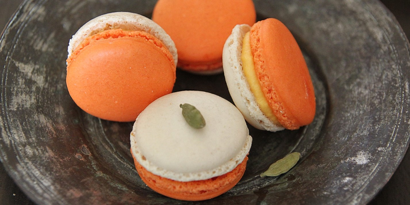 Mango and cardamom filled macarons
