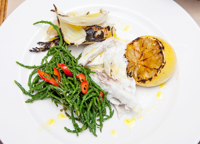 Barbecued black bream with fennel and lemongrass