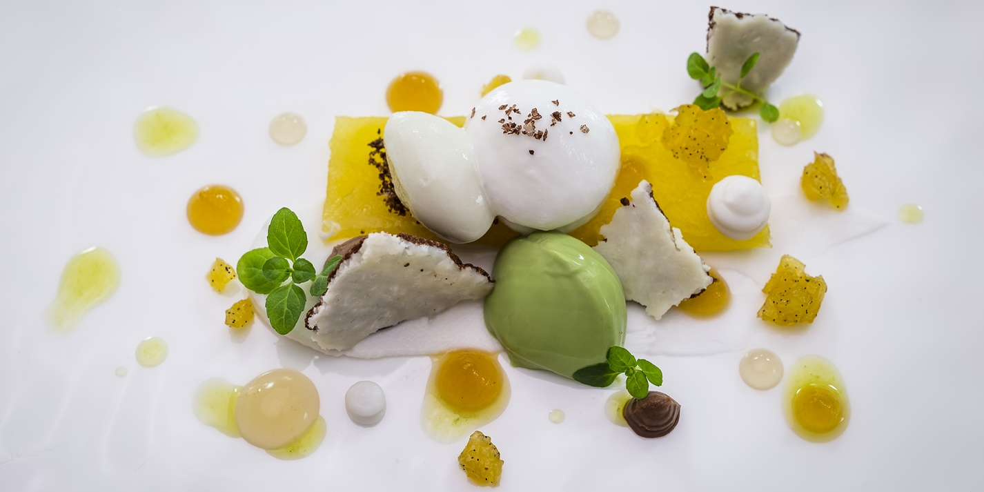 Compressed pineapple, sweet cicely ice cream