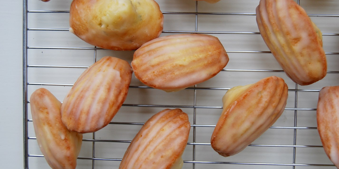 Lemon and thyme madeleines with lemon glaze