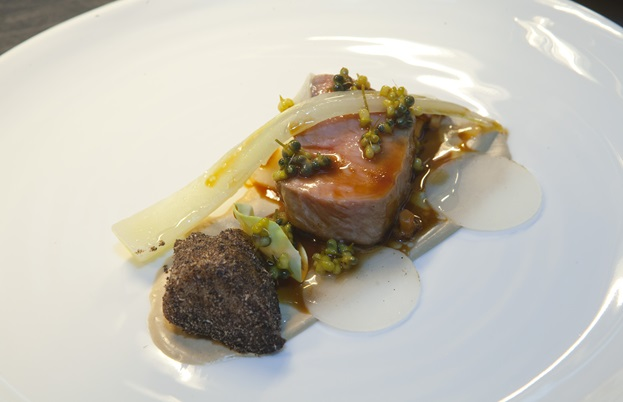 Adam Simmonds's roasted veal fillet with sweetbreads, sunflower seed purée and onion ash
